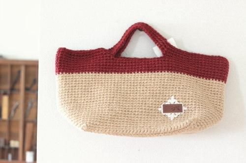 手編みのバッグ*麻 ダークレッド/sakura 型番:B-10