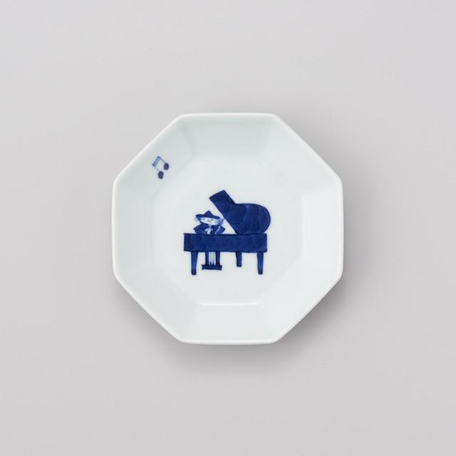 """【青花】""""ハーモニー"""" 正八角4寸皿(ピアノ)"""