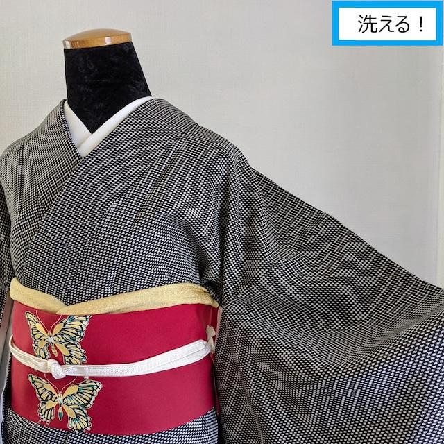 【洗える】プレタ小紋 千鳥格子風 黒×白 みんな大好きモノトーン 丈164裄66