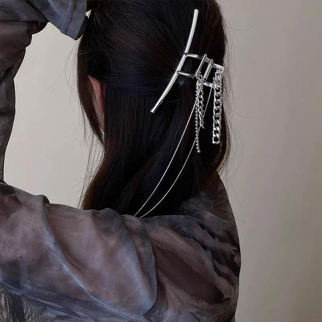 metallic chain hair clip