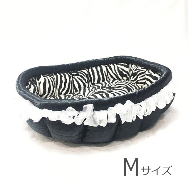 ふーじこちゃんママ手作り ぽんぽんベッド(サテンブラック・ヒョウ柄)Mサイズ【PB13-138M】