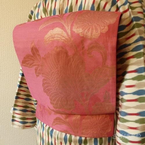 正絹 薄紅梅色に唐花のつくり帯