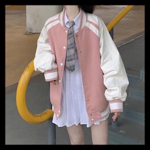 【お取り寄せ】シンプル ラインブルゾン アウター ピンク