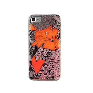 ARTiFY iPhone SE(第2世代)/6/6s/7/8 ネオンサンドケース クリムト キス オレンジ/オレンジ AJ00399