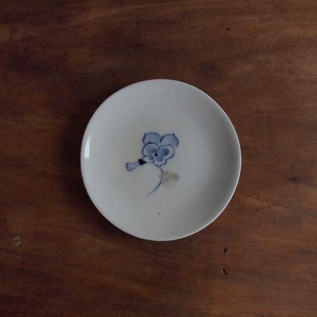 谷野明子|呉須と鉄の小皿 パンジー