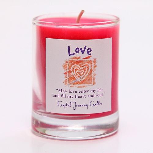 愛に満ちた人間関係を引き寄せる|魔法のヒーリングキャンドル プチグラス(ラブ ・愛)【Crystal Journey Candles 】