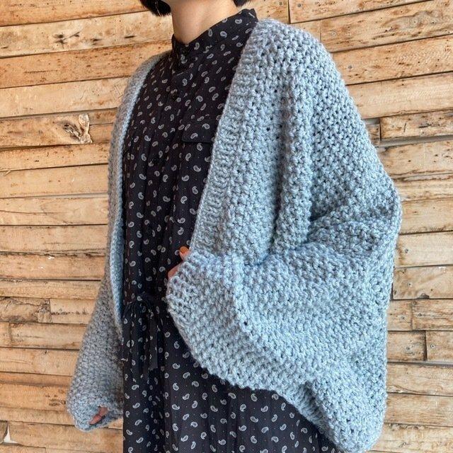 Hand Made Knit スローチルーズニットカーディガン グレー