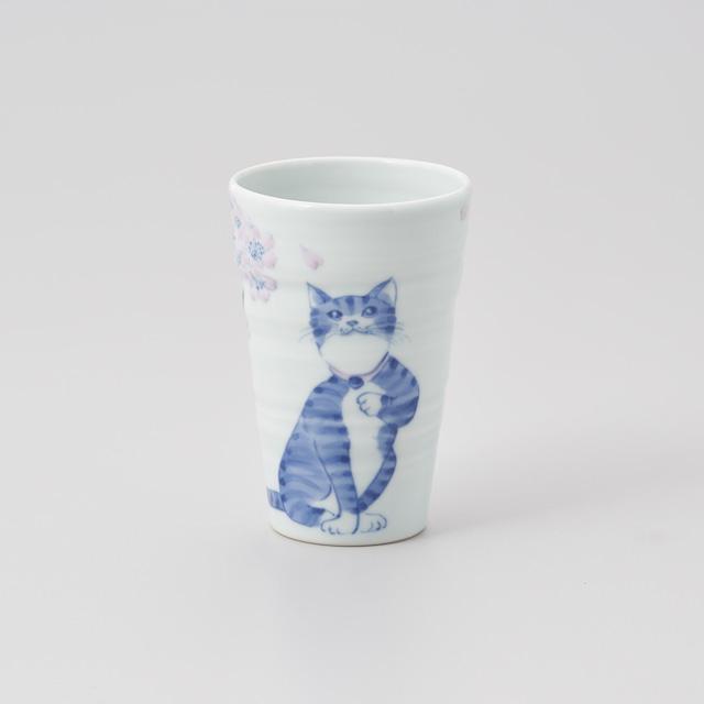 """【青花】""""いとしの猫"""" フリーカップ(桜とおすわり猫)"""