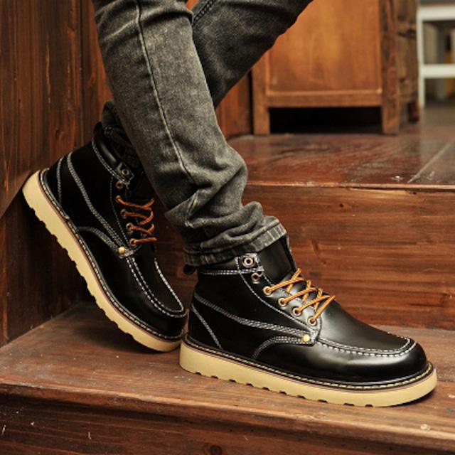 ウォーキングシューズ レザー 革 メンズ ブーツ シューズ 革靴 軽量 カジュアル shs-4