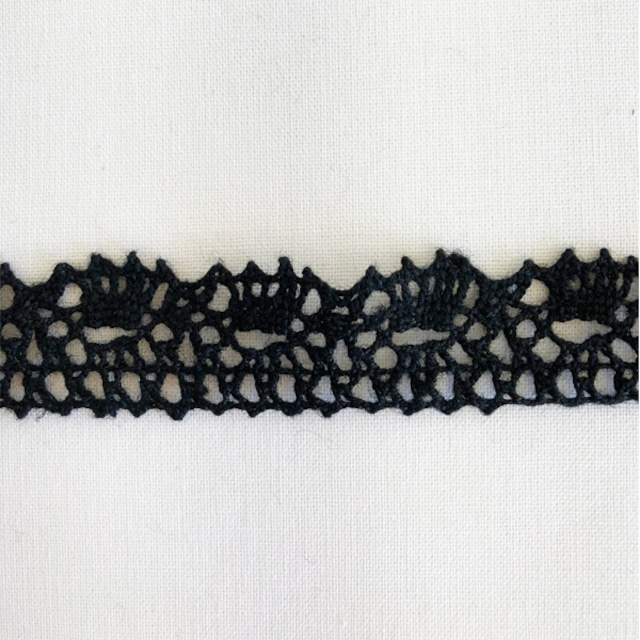 リトアニア製リネン トーションレース  麻トーションレース  縁取り 装飾 10cm単位 ハンドメイド 20mm幅 黒