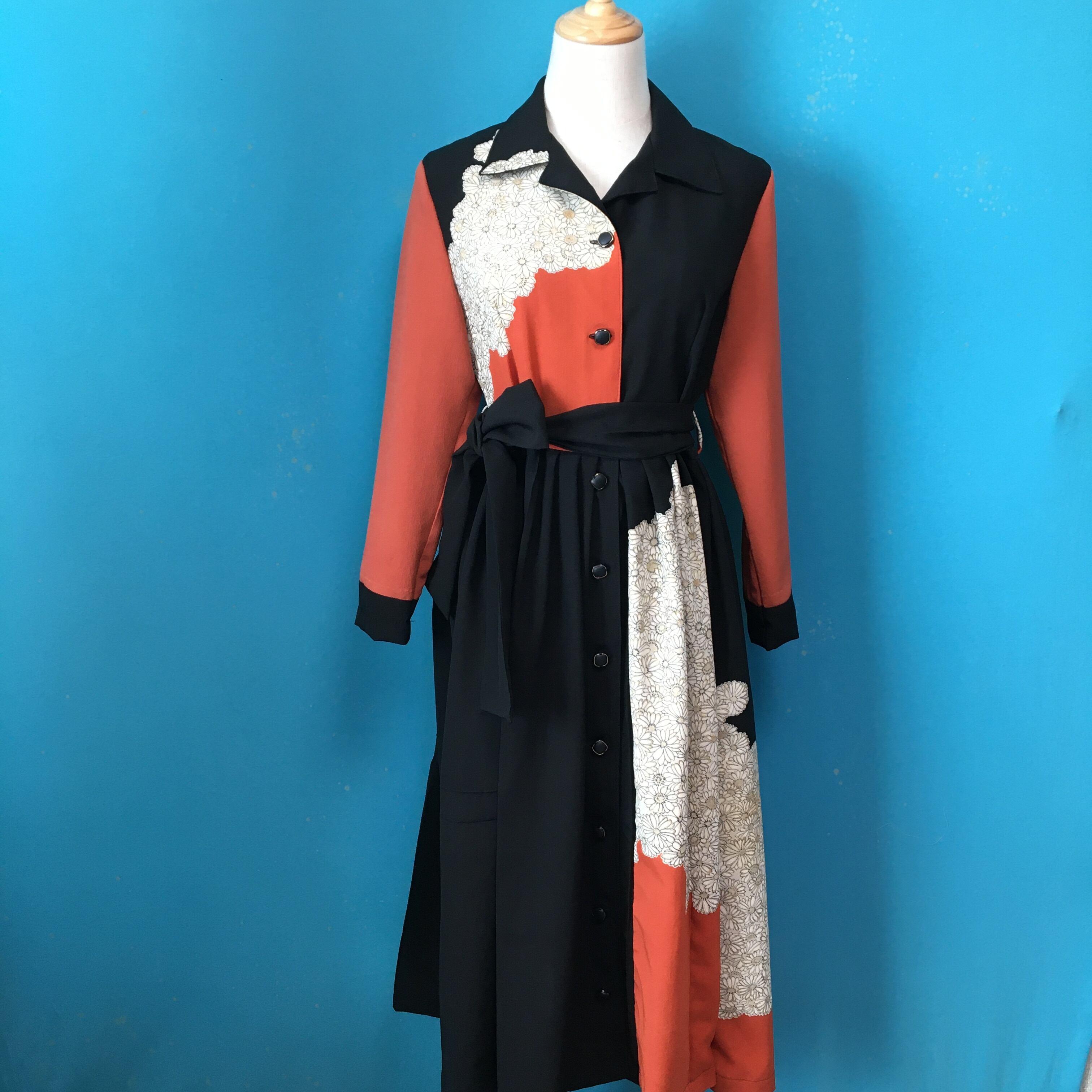 Vintage black kimono shirt dress/ US 8