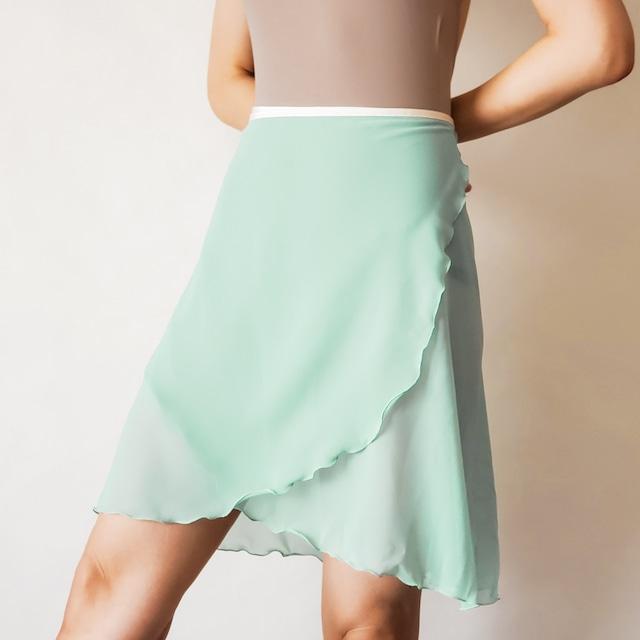 LONG wrap skirt【ソーダグリーン×クリーム】