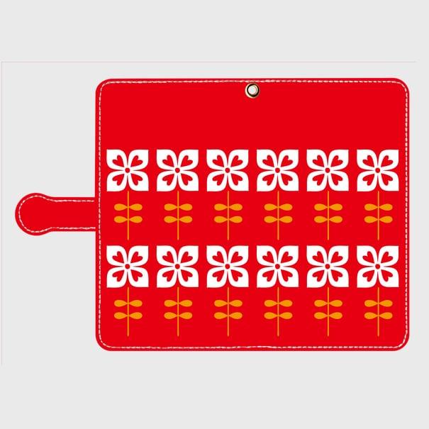 昭和デザイン花(赤・2)Androidスマホケース(手帳型ケース)