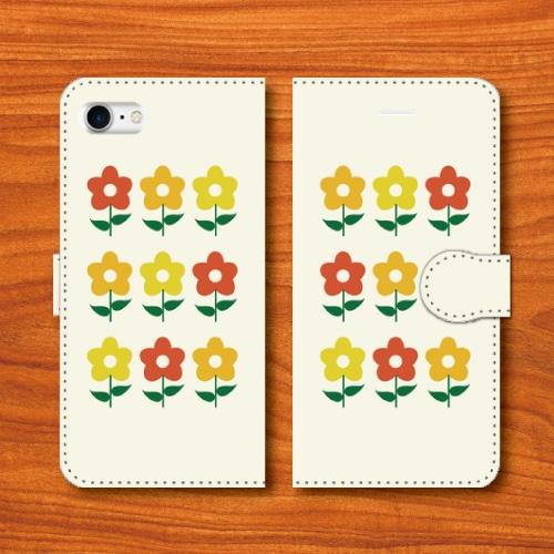 昭和レトロ/花柄/昭和食器調/白色/iPhoneスマホケース(手帳型ケース)