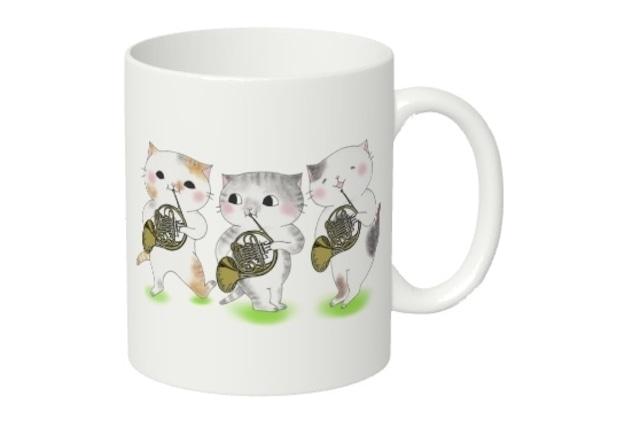 ホルン猫3匹のマグカップ