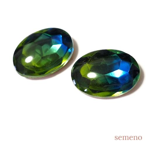 1pc グリーン ブルー オーバル 25*18 ヴィンテージガラス ラインストーン グラスストーンD1-5B