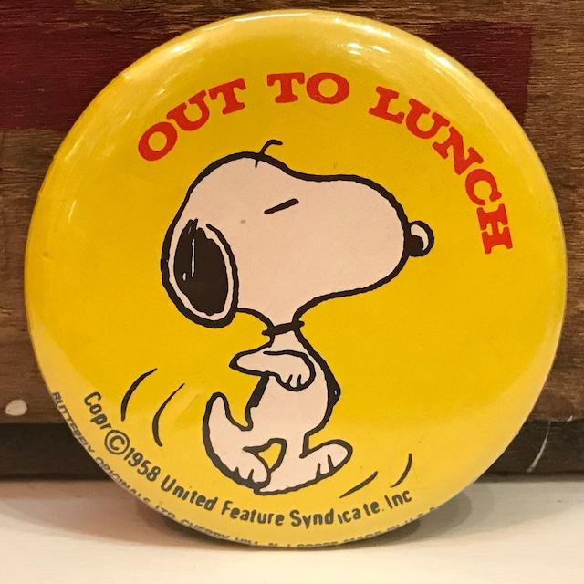 スヌーピー 70's〜80's USA製 オールド 缶バッジ 「OUT TO LUNCH」