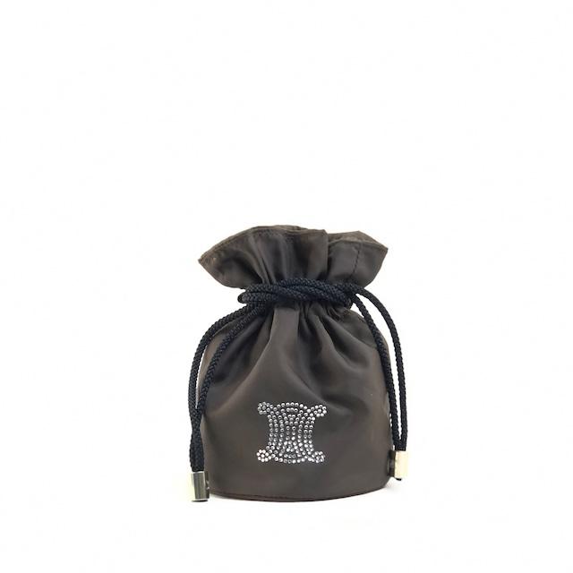 CELINE セリーヌ トリオンフ ブラゾン 巾着 ハンドポーチ ナイロンポーチ ブラウン vintage ヴィンテージ オールドセリーヌ  fg82pa
