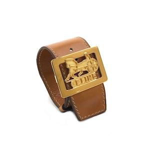 CELINE セリーヌ ホースキャリッジ  レザー バングル ブレスレット ブラウン  オールドセリーヌ vintage ヴィンテージ 馬車金具 2vwyza