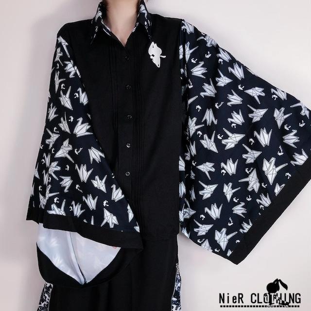 着物風袖ブロッキングシャツ【折鶴】
