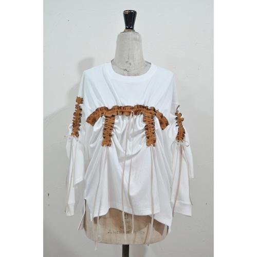 【RehersalL】shirring long T(white) /【リハーズオール】シャーリングロンT(ホワイト)