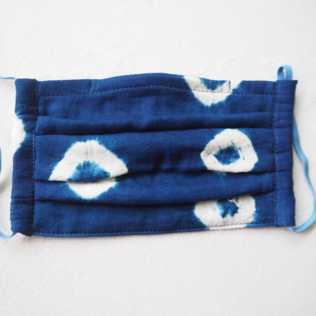 藍染めガーゼ 5 層仕立て 快適サラサラプリーツマスク(絞り染め)