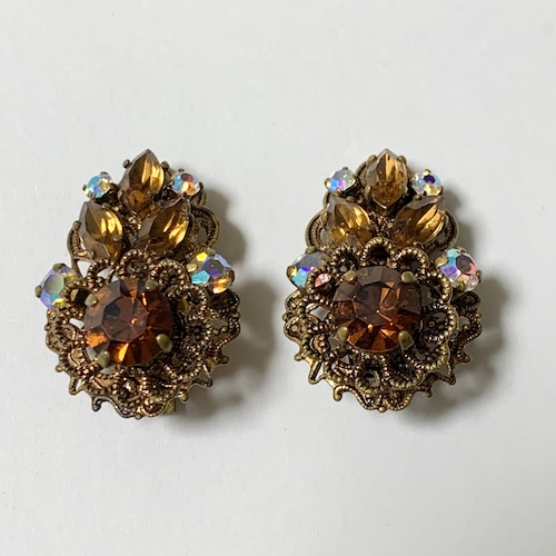 Vintage Faux Filigree & Amber Bijoux Earring Made In West Germany