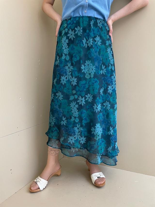 floral sheer skirt / 7SSSK31-02