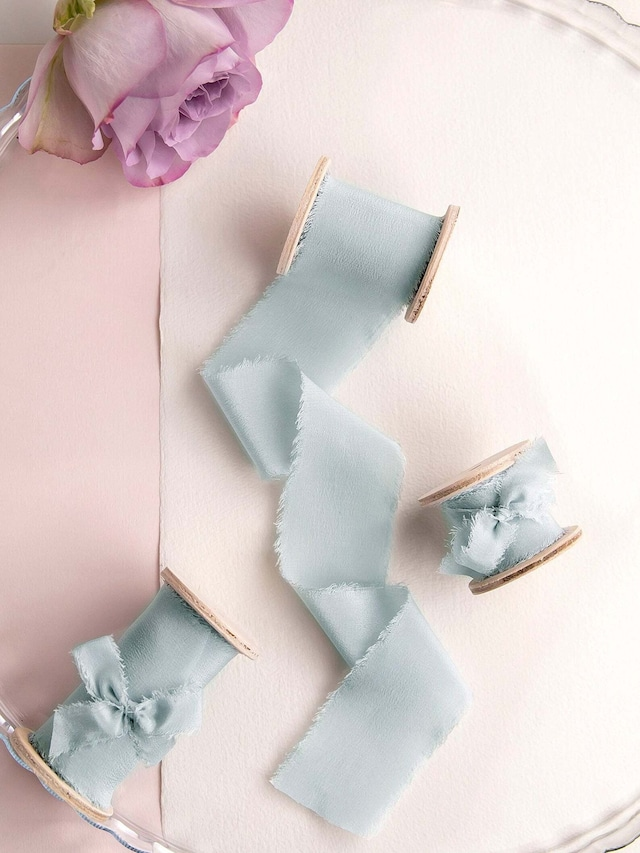Sea glass   Silk  Ribbon(手染め手裂きタイプ) ■木製スプール付 シルクリボン シーグラス