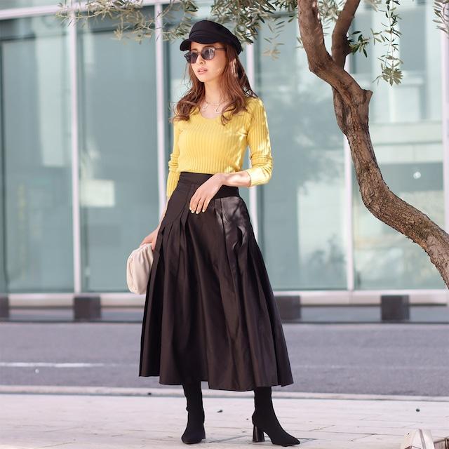 高品質デザインタックAラインフレアブラックスカート