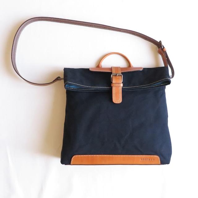 Paraffin canvas messenger bag BLACK