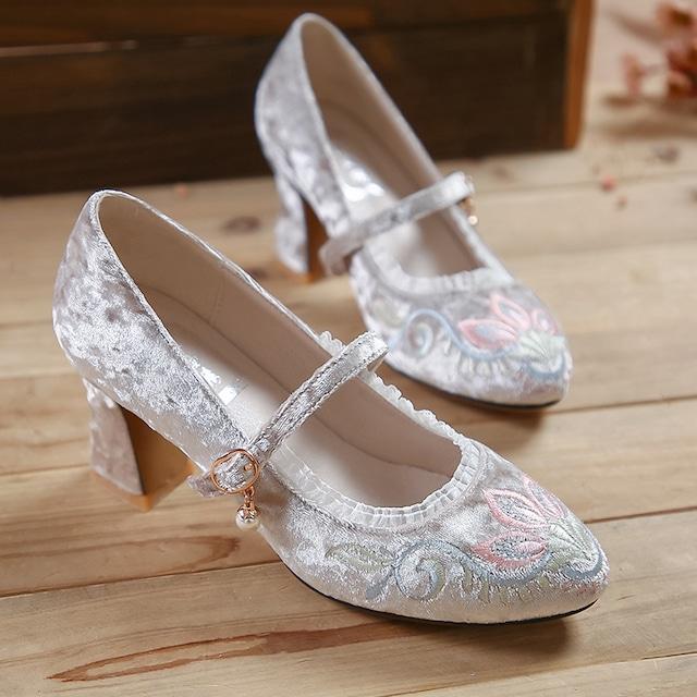 【天賜繡シリーズ】★刺繍靴★ ハイヒール サイズ34-40 チャイナ風靴 シューズ オリジナル 花柄 エレガント 可愛い