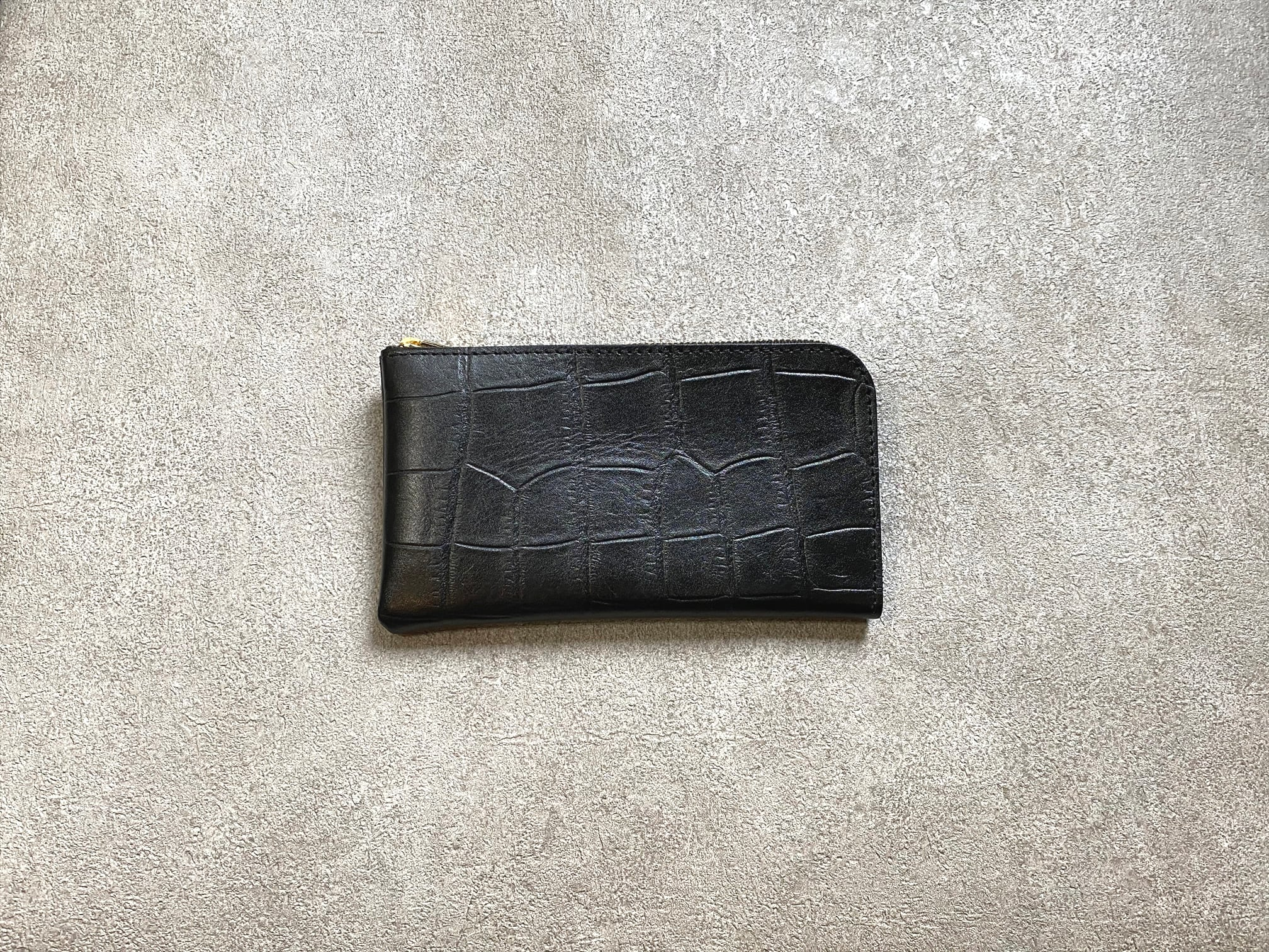 SHOZOウォレット(ラックスクロコ):ブラック ※「アジア・パシフィック・レザー・フェア2019」革小物部門グランプリ受賞商品