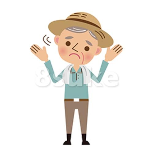 イラスト素材:困った表情で首をふる年配の農夫(ベクター・JPG)