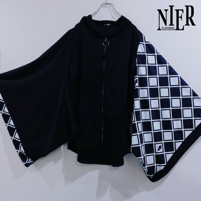 STRETCH着物風袖ZIP OUTER【CHECKERED】