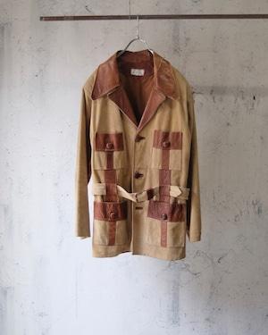 70's suede leather half coat