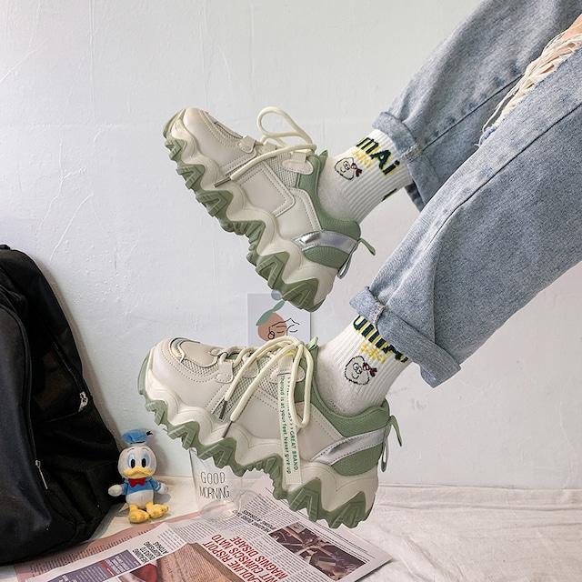 【シューズ】丸トゥ厚底ファッション合わせやすいINS風スニーカー42897481