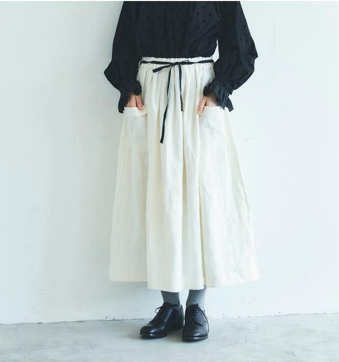 MAGALI ブラッシュドベルギーリネンロングスカート/ホワイト