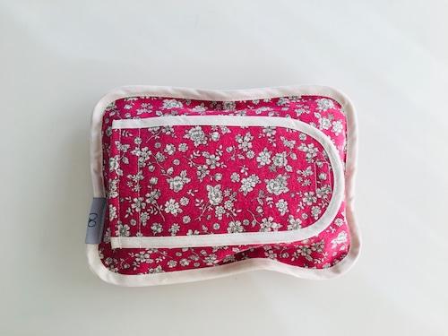 布製ウェットシートケース・小花柄の赤色