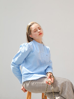 puff sleeve oxford shirt(blue)