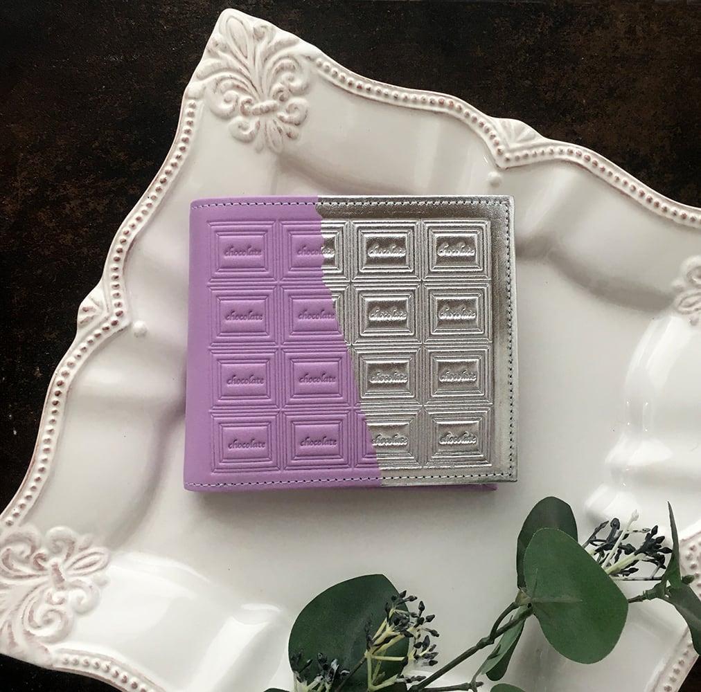 革の菫色チョコ・二つ折り財布 (銀の包み紙)