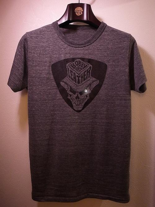 スカルハットロゴ・ロックTシャツ◆チャコールグレー・ベース×ブラック・シルクプリントtype