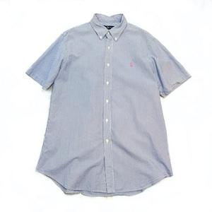 【USED】Ralph Lauren ラルフローレン シアサッカー ストライプ  柄 半袖 シャツ ブルー