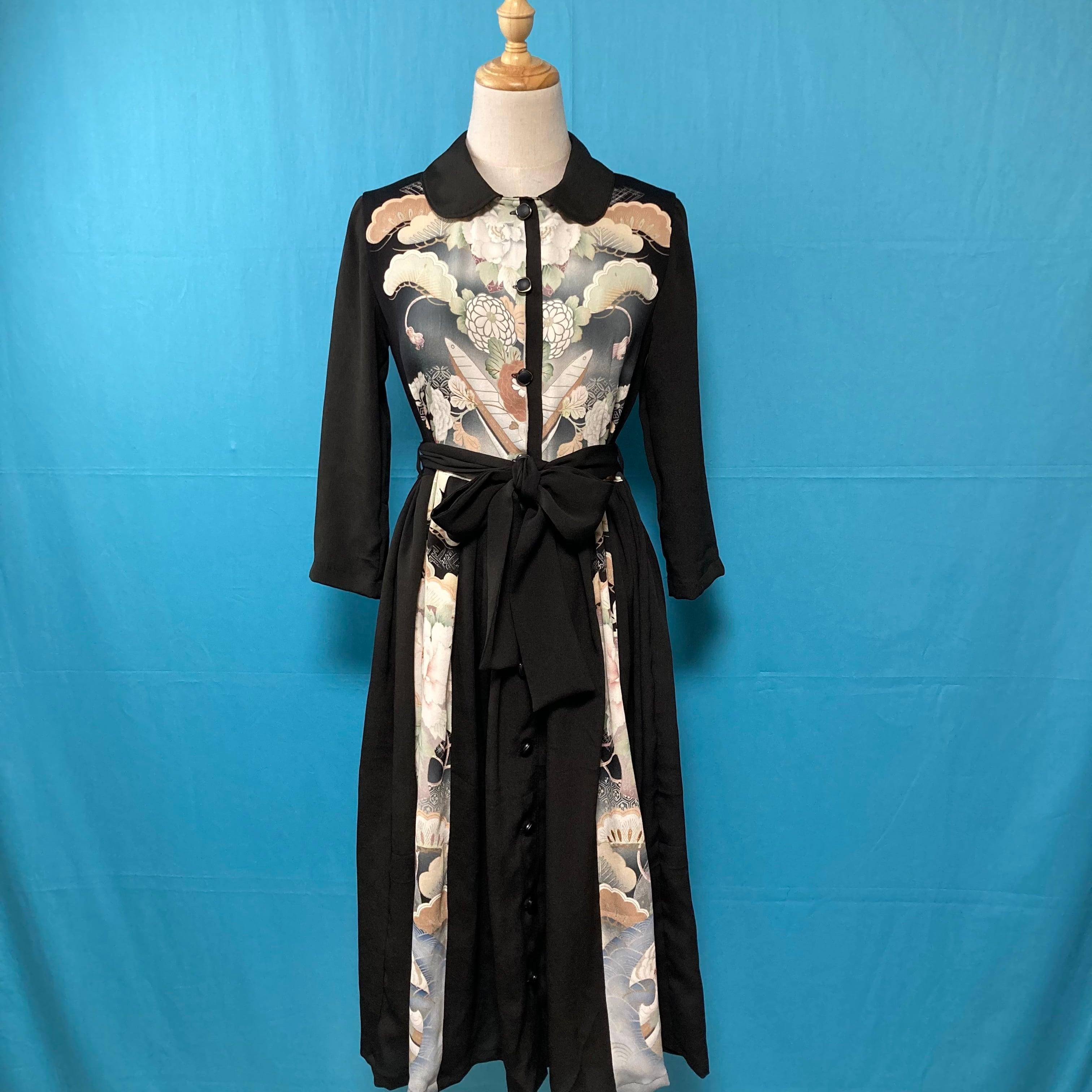 Vintage black kimono dress/ US 6 丸襟