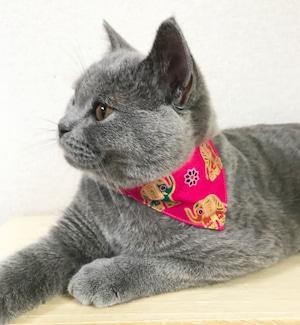 【エスニックエレファント柄】猫用バンダナ風首輪/選べるアジャスター 猫首輪 安全首輪 子猫から成猫
