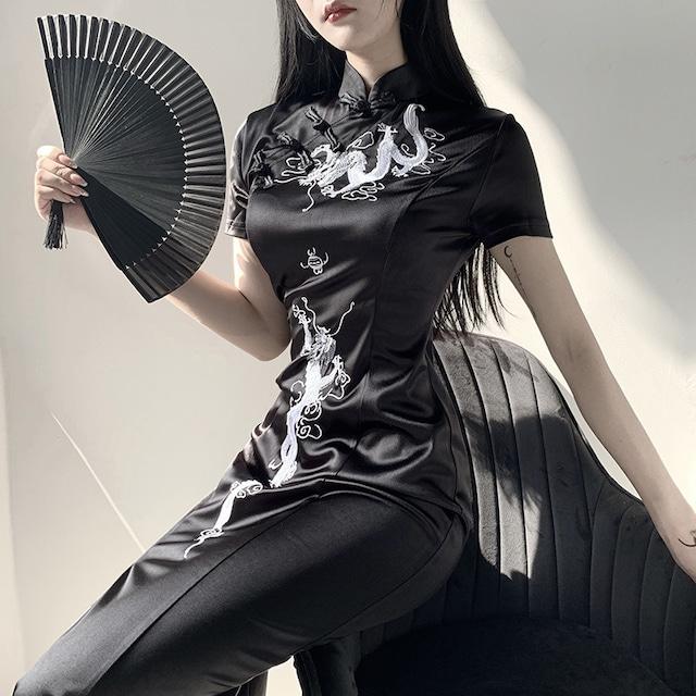 チャイナドレス ワンピース 中華服 演出服装 刺繍入り ロング丈 S M L ブラック 黒い