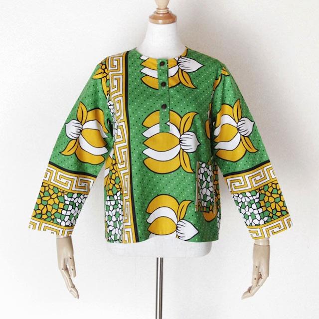子供服 ヘンリーネックシャツ|140 / アフリカ布 服