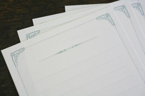 装飾活字Mini Stationery Paper  all Antique-51- 【シルバーブルー】