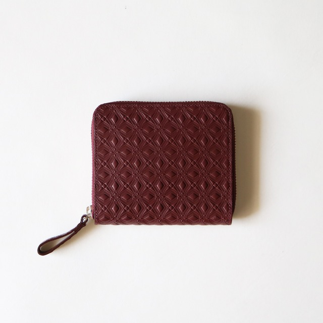 WM x PORTER MARQUETRY PATTERN EMBOSSED LEATHER WALLET- BURGUNDY