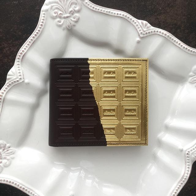 革のビターチョコ・二つ折り財布(金の包み紙)